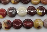 CMK86 15.5 inches 12mm flat round mookaite beads wholesale