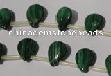 CMN320 Top-drilled 8*12mm flat teardrop natural malachite beads