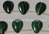 CMN323 Top-drilled 13*18mm flat teardrop natural malachite beads