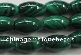 CMN419 15.5 inches 6*9mm rice natural malachite beads wholesale