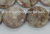 CMS114 15.5 inches 25mm faceted coin moonstone gemstone beads
