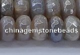CMS1335 15.5 inches 7*14mm faceted rondelle AB-color grey moonstone beads
