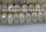 CMS1341 15.5 inches 4*6mm faceted rondelle AB-color white moonstone beads