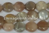 CMS521 15.5 inches 12mm flat round moonstone beads wholesale