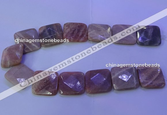 CMS596 15.5 inches 30*30mm faceted square moonstone gemstone beads