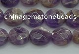 CNA1045 15.5 inches 12mm faceted coin dogtooth amethyst beads