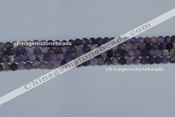 CNA1061 15.5 inches 6mm round matte dogtooth amethyst beads
