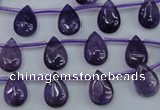 CNA288 Top-drilled 8*12mm flat teardrop natural amethyst beads