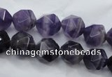 CNA504 15 inches 12mm faceted nuggets amethyst gemstone beads