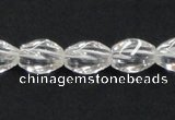 CNC19 8*12mm twisted rice grade AB natural white crystal beads