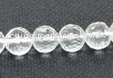 CNC54 15.5 inches 12mm faceted round grade A natural white crystal beads