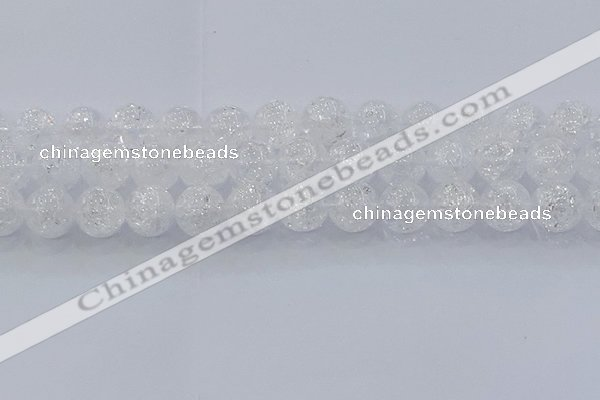 CNC555 15.5 inches 14mm round natural crackle white crystal beads