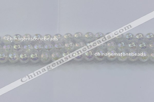 CNC564 15.5 inches 12mm round plated crackle white crystal beads