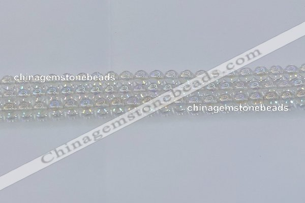CNC570 15.5 inches 6mm round plated natural white crystal beads