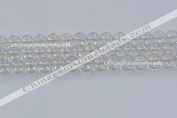 CNC574 15.5 inches 14mm round plated natural white crystal beads