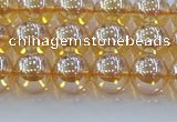 CNC577 15.5 inches 8mm round plated natural white crystal beads