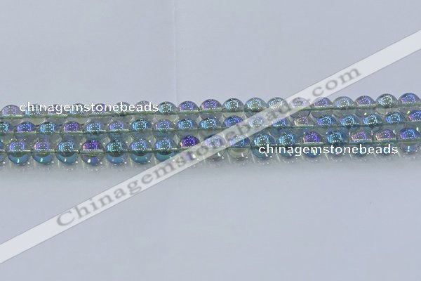 CNC583 15.5 inches 8mm round plated natural white crystal beads