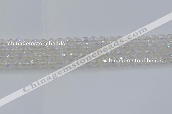 CNC609 15.5 inches 8mm faceted round plated natural white crystal beads