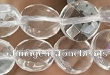 CNC744 15.5 inches 8mm faceted coin white crystal beads