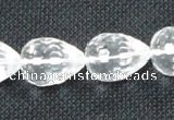 CNC76 12*16mm faceted teardrop grade A natural white crystal beads