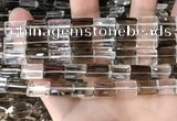 CNC829 8*12mm faceted rectangle white crystal & smoky quartz beads