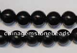 CNE06 15.5 inches 14mm round black stone needle beads wholesale