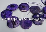 CNG1554 15.5 inches 50*52mm faceted freeform agate beads