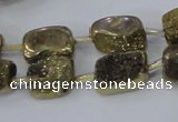 CNG2001 15.5 inches 8*12mm - 10*15mm nuggets plated quartz beads