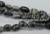 CNG211 15.5 inches 6*8mm nuggets black water jasper beads