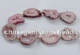 CNG2493 15.5 inches 30*40mm - 40*50mm freeform plated druzy agate beads