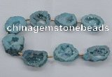 CNG2494 15.5 inches 30*40mm - 40*50mm freeform plated druzy agate beads