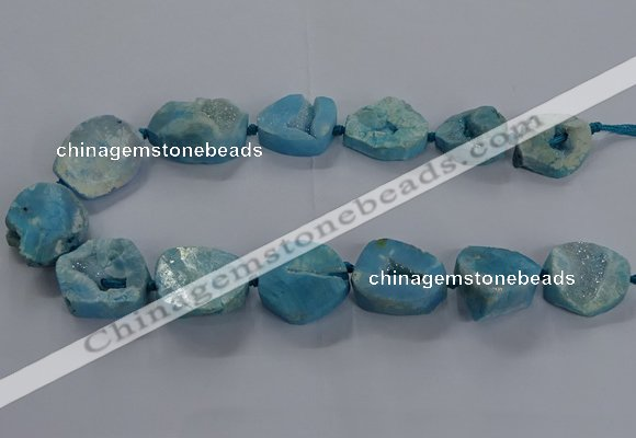 CNG2804 15.5 inches 25*30mm - 30*40mm freeform druzy agate beads