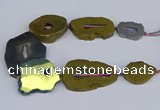 CNG3106 15.5 inches 25*30mm - 35*50mm freeform plated druzy agate beads