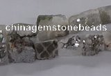 CNG3152 15.5 inche 8*15mm - 11*20mm freeform plated druzy agate beads