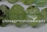 CNG5135 15*18mm - 15*20mm faceted freeform green rutilated quartz beads
