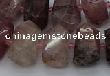 CNG5274 12*16mm - 15*20mm faceted nuggets strawberry quartz beads