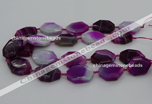 CNG5345 15.5 inches 25*35mm - 30*40mm faceted freeform agate beads
