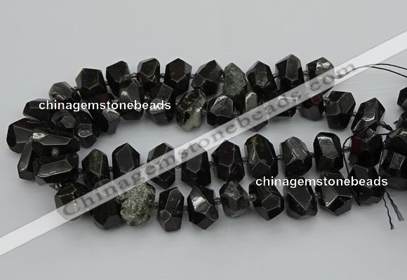 CNG5368 12*16mm - 15*20mm faceted nuggets black tourmaline beads