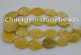 CNG5405 15.5 inches 20*30mm - 35*45mm faceted freeform yellow jade beads