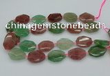 CNG5596 20*25mm - 25*35mm faceted freeform mixed strawberry quartz beads