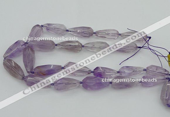 CNG5650 15.5 inches 15*35mm - 18*45mm faceted teardrop amethyst beads