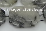 CNG5687 20*30mm - 35*45mm faceted freeform black rutilated quartz beads
