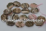 CNG5768 20*30mm - 35*45mm faceted freeform rhodochrosite beads