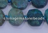 CNG5958 10*14mm - 12*16mm faceted freeform chrysocolla & turquoise beads