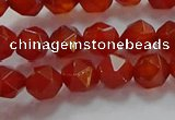 CNG6504 15.5 inches 6mm faceted nuggets red agate beads