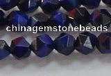 CNG6542 15.5 inches 6mm faceted nuggets blue tiger eye beads
