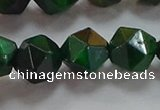 CNG6549 15.5 inches 12mm faceted nuggets green tiger eye beads