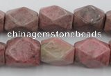CNG658 15.5 inches 13*18mm faceted nuggets rhodochrosite beads