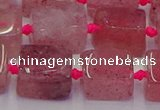 CNG6931 15.5 inches 8*12mm - 10*16mm nuggets strawberry quartz beads