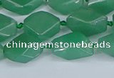 CNG7137 6*10mm - 10*14mm faceted nuggets green aventurine beads